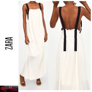 ZARA Pleated Maxi Ivory Dress with Textured Straps